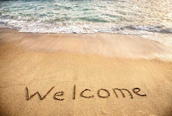 welcome in the sand